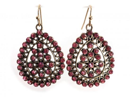 Pink Crystal Boho Hook Earrings