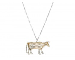 Gold Floral Pattern Silver Edge Cow Necklace