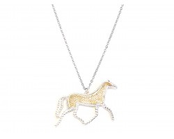 Gold Floral Pattern Silver Edge Horse Necklace