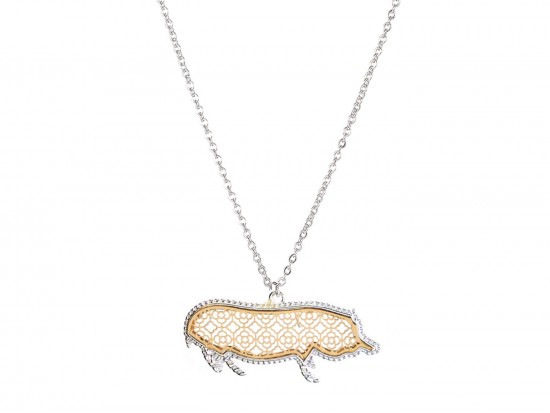 Gold Floral Pattern Silver Edge Pig Necklace