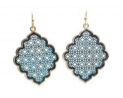 Patina Floral Pattern Gold Edge Diamond Hook Earrings