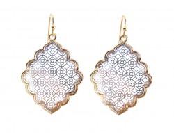 Silver Floral Pattern Gold Edge Diamond Hook Earrings