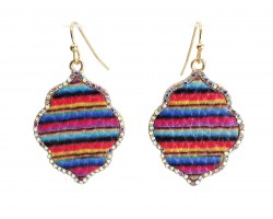 Multi Serape Pattern Crystal Edge Diamond Hook Earrings