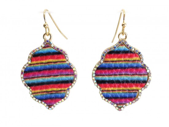Multi Serape Pattern Crystal Edge Diamond Hook Earrings