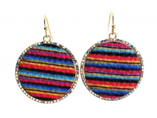 Multi Serape Pattern Crystal Edge Round Hook Earrings