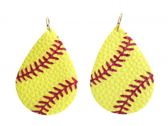 Yellow Softball Teardrop Leather Hook Earrings