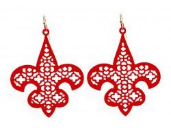 Red Fleur De Lis Filigree Hook Earrings
