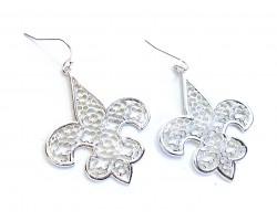 Silver Fleur De Lis Filigree Hook Earrings