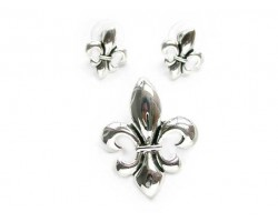 Silver Plate Fleur De Lis Pendant & Earrings Set