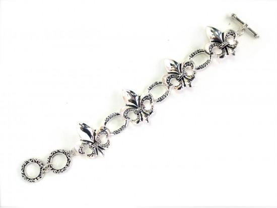 Silver Text Swirl Fleur De Lis Toggle Bracelet