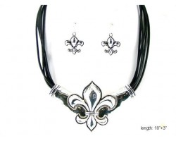 Silver Fleur-De-Lis Black Multi Cord Necklace Set