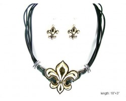 Two Tone Fleur De Lis with Black Multi Cord Necklace Set