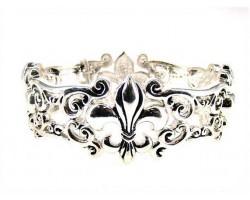 Silver Double Stretch Fleur De Lis Bracelet