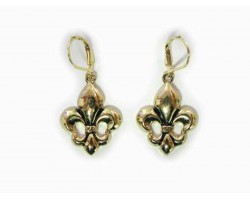 Gold Fleur De Lis Euro Clip Earrings