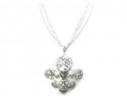 Silver Fleur De Lis Multi Chain Necklace