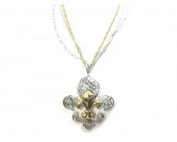 Silver Gold Fleur De Lis Multi Chain Necklace