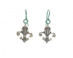 Silver Filigree Fleur De Lis Hook Earrings