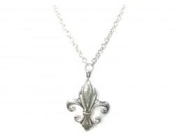 Silver Filigree Etched Fleur De Lis Necklace