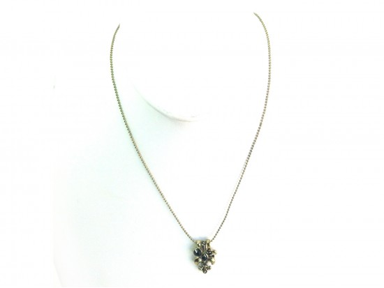 Gold Fleur de Lis Charm Crystal Necklace Set