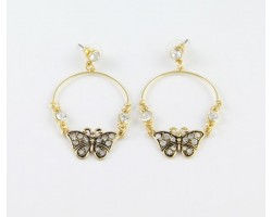 Antique Gold and Crystal Butterfly Hoop Post Earrings