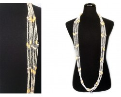Ivory Seed Tube Bead Crystal Necklace Set