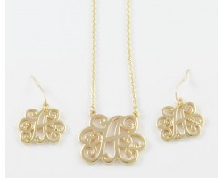 Gold Plate Cursive Initial Chain Necklace Set