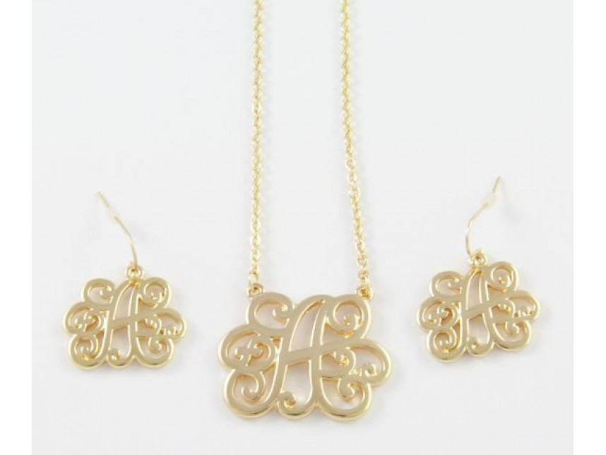 gold plate cursive initial chain necklace set