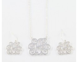 Silver Plate Cursive Initial Chain Necklace Set