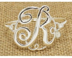 Silver Plate Cursive Initial Bangle 14 Pack
