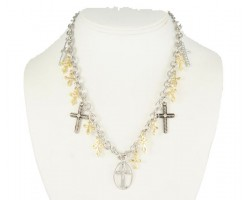 "17"" Two Tone Multi Cross Dangle Necklace Set"