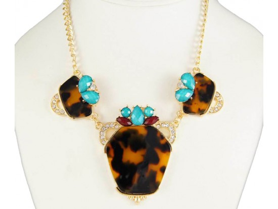 Gold Plate Tortoise Bib with Turquoise Stone Necklace Set