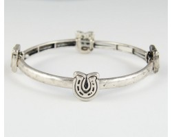 Antique Silver Plate Horseshoe Charm Hammered Band Bracelet