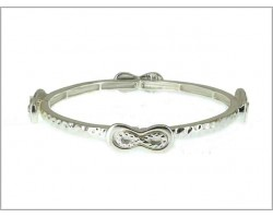 Silver Plate Infinity Charm Hammered Band Bracelet