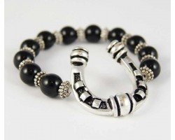 Antique Silver Plate Horseshoe Charm Black Bead Stretch Bracelet
