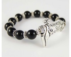 Antique Silver Plate Cowboy Boot Charm Black Bead Stretch Bracelet