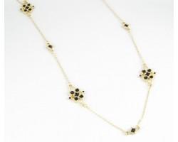"36"" Black Enamel Stone Flower Gold Plate Chain Necklace Set"