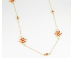 """36"""" Coral Enamel Stone Flower Gold Plate Chain Necklace Set"""