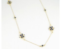 """36"""" Navy Enamel Stone Flower Gold Plate Chain Necklace Set"""