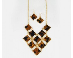 Gold Plate Diamond Tortoise Bib Pendant Necklace Set