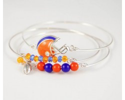 Blue and Orange Football Charm 3 Band Bracelet Set
