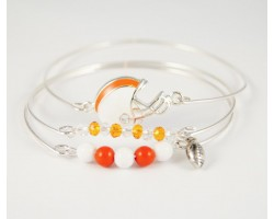 Orange and White Football Charm 3 Band Bracelet Set