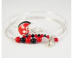 Red & Black Football Charm 3 Band Bracelet Set