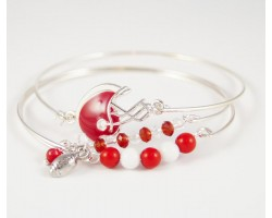 Red & White Football Charm 3 Band Bracelet Set