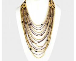 """21"""" Leopard Pattern Seed Bead Drape Necklace Set"""