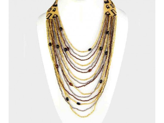 "21"" Leopard Pattern Seed Bead Drape Necklace Set"
