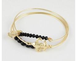 Black Fleur De Lis Charm 3 Gold Band Bracelet