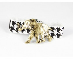 Gold Elephant Black White Houndstooth Ribbon Bracelet