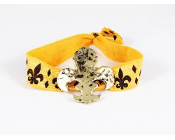 Gold Fleur De Lis Black Yellow Ribbon Bracelet