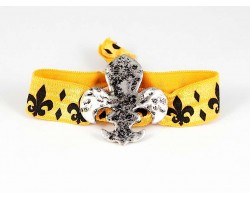 Silver Fleur De Lis Black Yellow Ribbon Bracelet