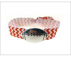 Orange White Chevron Silver Football Ribbon Bracelet